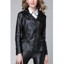 Womens New Stylish Plain Notched Lapel Collar Long Sleeve Zip Up PU Biker Jacket