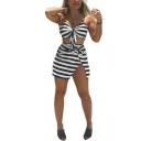 Women's Trendy Black Stripe Printed Bow-Tie Cami Top with Mini Skirt Two-Piece Co-ords