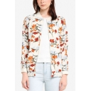 Womens Fancy Floral Pattern Stand Collar Long Sleeve Zip Up Jacket