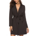 Womens New Trendy Simple Plain Notched Lapel Collar Tied Waist Longline Blazer Coat