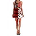 Halloween New Stylish Blood Check Printed Scoop Neck Sleeveless Maid Cosplay Costume Mini Tank Dress