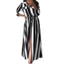 New Stylish Vertical Stripe Printed Long Sleeve Tied Waist Maxi Shirt Dress