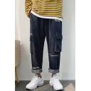 Men's Trendy Letter Printed Flap Pocket Side Loose Fit Black Straight Jeans