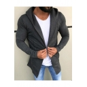 Men's New Trendy Simple Plain Long Sleeve Hooded Open-Front Casual Coats