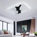 Acrylic Oblong LED Flush Light Modern Design Flush Mount in Black and White for Coffee Shop