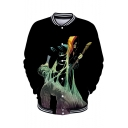 New Trendy 3D Figure Cartoon Pattern Stand Collar Long Sleeve Black Baseball Jacket