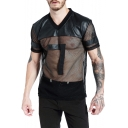 Mens Simple Letter Print Short Sleeve Button V-Neck PU Patch Mesh Fitted Sports Black T- Shirt