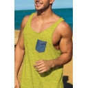 New Stylish Mens Simple Plain Sleeveless Pocket Detail Pullover Casual Sport Tank Tee