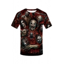 Summer New Stylish 3D Skull Round Neck Short Sleeve Red T-Shirt For Men