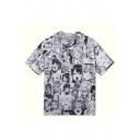 Summer New Trendy Ahegao Comic Print Short Sleeve Hooded Black And White T-Shirt