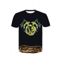 Summer Stylish Letter Tiger Print Short Sleeve Round Neck Casual Black T-Shirt