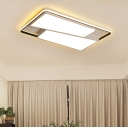 Acrylic Trapezoid Shade Ceiling Light with Rectangle Frame Modern LED Flush Light Fixture in White