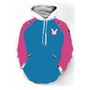 Overwatch Comic Rabbit Print Colorblock Long Sleeve Pullover Blue Drawstring Hoodie