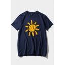Summer Simple Funny Cartoon Sun Printed Round Neck Short Sleeve Loose T-Shirt