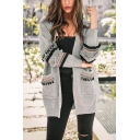 Womens New Stylish Pompom Hem Long Sleeve Open Front Tunic Cardigan
