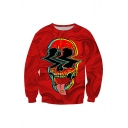 Halloween Fashion Skull Tongue 3D Printed Red Long Sleeve Round Neck Pullover Sweatshirt