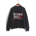 Hot Trendy Storm Area Printed Mock Neck Long Sleeve Pullover Sweatshirt
