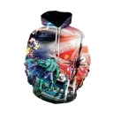 Hot Trendy Comic Figure Galaxy 3D Printed Long Sleeve Multi-colored Pullover Drawstring Hoodie