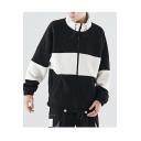 Guys Winter New Stylish Simple Colorblock Print High Neck Long Sleeve Loose Fleece Coat
