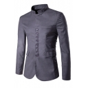 Mens New Stylish Simple Plain Long Sleeve Stand Collar Button-Down Slim Fitted Coat Jacket
