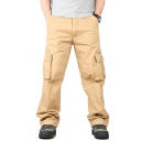 Mens New Fashion Solid Color Flap Pocket Side Oversized Straight Cargo Pants