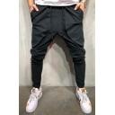 New Fashion Solid Color Drawstring Waist Large Pocket Design Hip Pop Trendy Black Joggers Pants Sports Pencil Pants