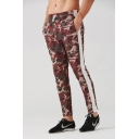 Mens New Fashion Popular Camouflage Letter Pattern Colorblock Patched Side Drawstring Waist Casual Sports Training Pants Pencil Pants