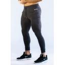 Mens Popular Fashion Letter Printed Zip Pocket Side Drawstring Waist Skinny Fitness Pants Pencil Pants