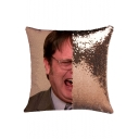 Fashion Funny Figure Face Printed Reversible Sequined Comfort Pillow 40*40cm