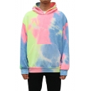 Mens Street Trendy Tie Dyeing Pattern Long Sleeve Casual Pullover Hoodie with Pocket