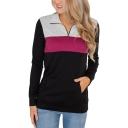 Zippered Lapel Collar Long Sleeve Color Blocked Pocket Sweatshirt