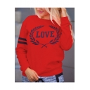 Letter LOVE Printed Round Neck Striped Long Sleeve Pullover Sweatshirt