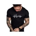 Summer New Stylish Cardiogram Music Symbol Printed Round Neck Short Sleeve T-Shirt