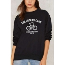New Leisure THE LOSERS CLUB Letter Bike Printed Round Neck Long Sleeve Graphic Sweatshirt