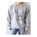 KENDRICK LLAMA Letter Print Round Neck Long Sleeve Grey Sweatshirt