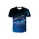 Mens Summer New Stylish 3D Eye Print Round Neck Short Sleeve Loose Leisure Blue T-Shirt