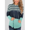 New Stylish Color Block Striped Print Long Sleeve Hoodie