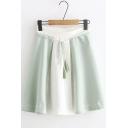 Summer Girls Color Block Tassel Belt Side-Zip Mini A-line Skirt