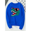 Cartoon Glasses Dinosaur Printed Round Neck Long Sleeves Pullover Sweatshirt