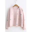 Cute Clouds Check Print Round Neck Long Sleeve Tassel Embellished Hem Pullover Sweatshirt