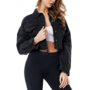 Black Solid Color Button Down Pockets Cropped Denim Jacket