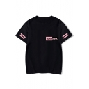 Summer Simple Kpop Girl Group Logo Print Stripe Short Sleeve Casual Tee
