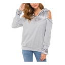 Women's Stripe Print Cold Shoulder Long Sleeve Button Front Relaxed Hoodie