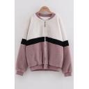 Girls Winter Fashion Color Block Standing Collar Zipper Basketball Sherpa Jacket