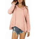 New Fashion Plain Dropped Shoulder Heather Knit Overlap Drawstring Loose Hoodie