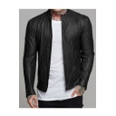New Trendy Plain Long Sleeve Stand-Collar Zip Up Casual Leather Jacket For Men