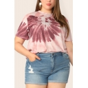 Summer New Trendy Short Sleeve Round Neck Tie Dye Print Loose Plus Size Pink T-Shirt