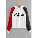 New Popular Color Block Lovely Panda Printed Long Sleeve Pullover Hoodie