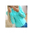 Hot Fashion Plain Lapel Collar Zipped Long Sleeve Buttons Down Studded Embellished Shirt