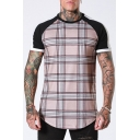 Summer Fashionable Plaid Print Short Sleeve Round Neck Outdoor Casual T-Shirt